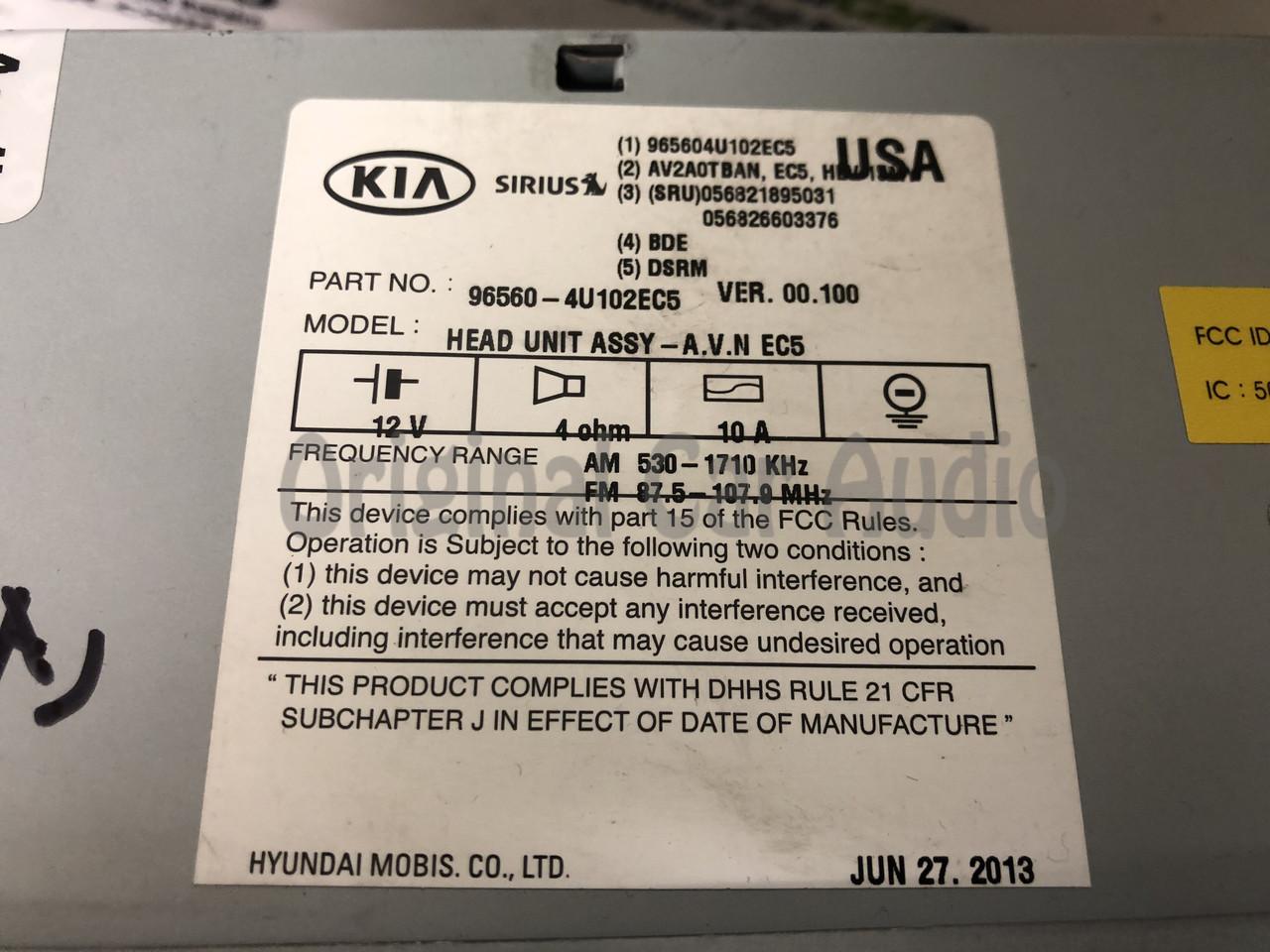 2011 - 2013 Kia Optima OEM Touch Screen Navigation Radio Media Receiver GREY