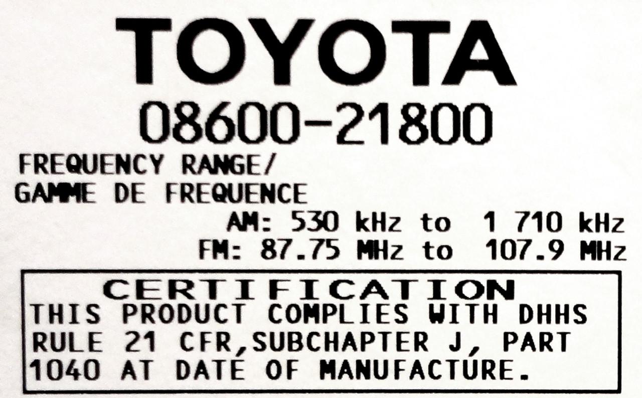 T1807 04 06 Scion XA XB TC Toyota Echo CD MP3 Player Radio