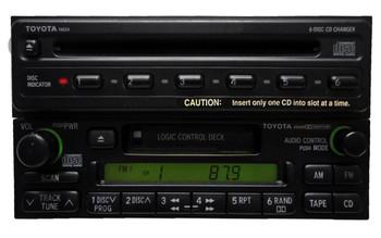 TOYOTA AM FM Radio Cassette Tape 6 CD Disc Player A56409 16408 74834 4Runner Avalon Camry Celica Mr2 Seuoia Solara Sienna Tacoma Tundra Rav4 T100 1990 1991 1992 1993 1994 1995 1996 1997 1998 1999