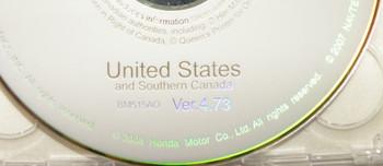 Acura Honda Satellite Navigation System GPS DVD Drive Disc BM515AO Ver. 4.73