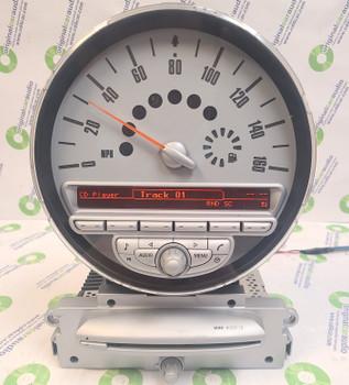 2007 - 2010 Mini Cooper R56 OEM Mini Boost Speedometer and Media USB AM FM Radio Single CD Receiver