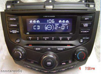 2003 - 2007 Honda Accord Radio and 6 CD  Changer Coupe 2DR 7BX0 39175-SDA-L120-M2