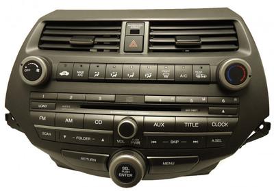 08 09 2010 Honda ACCORD Radio RDS AUX MP3 6 Disc CD Player Climate Controls 3BA0 Ho3BA0 w/Trim & AC