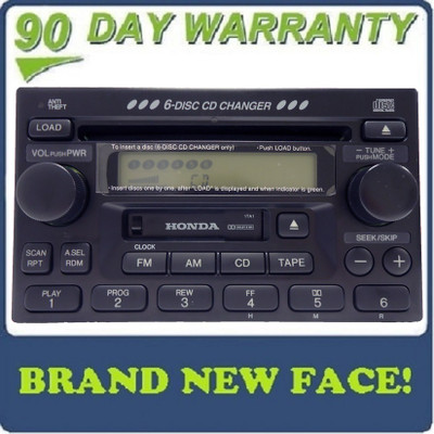 BRAND NEW FACE Honda Accord Civic CRV Radio Tape and 6 Disc CD Changer 1998-2005