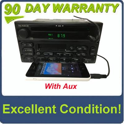 1998 - 2005 Ford Lincoln Mercury OEM Single CD  AM FM Radio WITH ADDED AUX