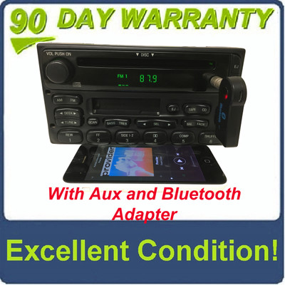 1998 - 2005 Ford Lincoln Mercury OEM Single CD  AM FM Radio WITH ADDED AUX and Bluetooth Adapter