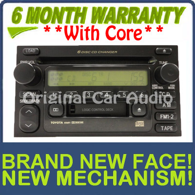 New Face & Mechanism 2000 - 2003 Toyota OEM  AM FM Radio Tape 6 Disc CD Changer Receiver A56811