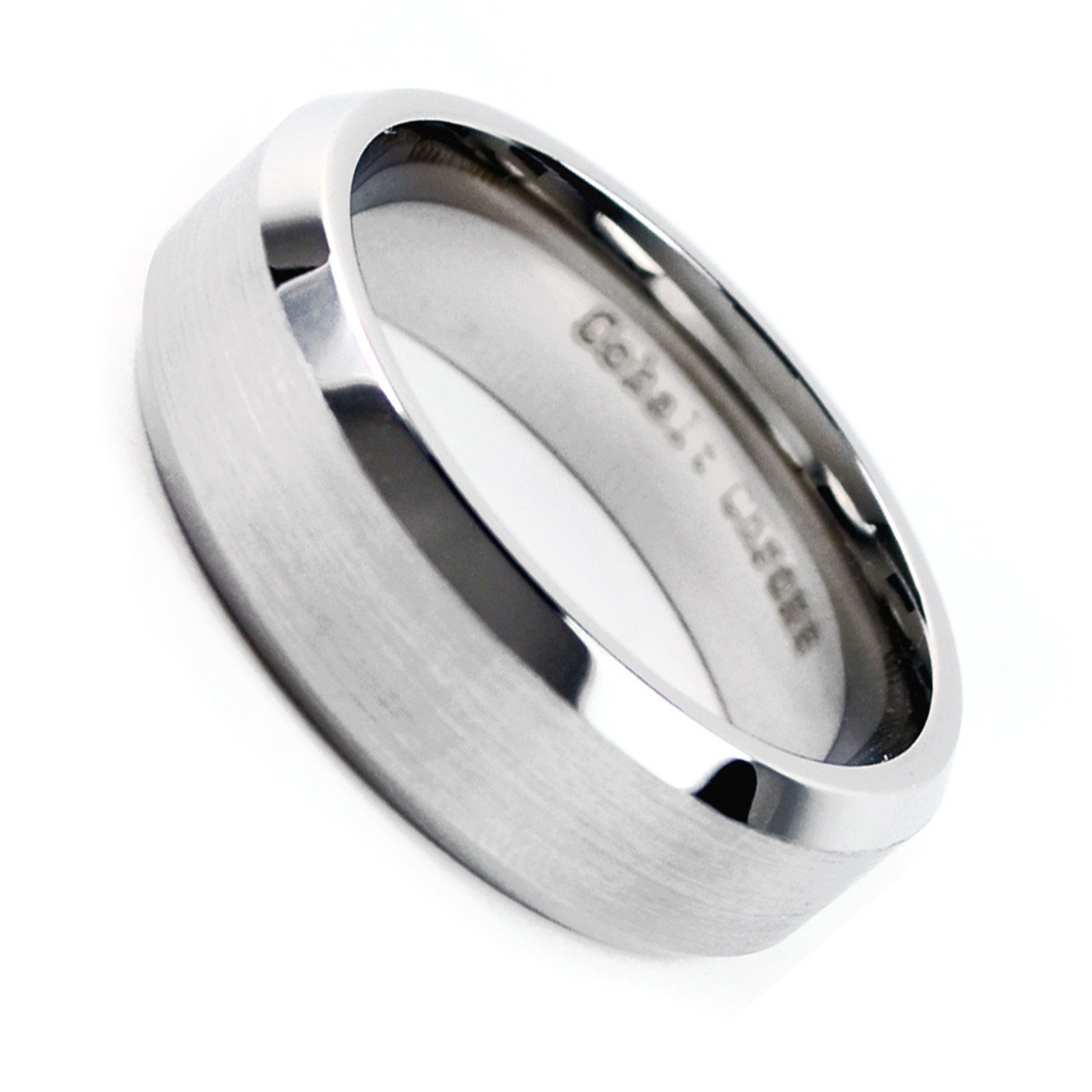 Men's Cobalt Chrome 8mm Beveled Edge Matte Finish Wedding Band Ring: Beveled Edge Matte Wedding Ring At Reisefeber.org