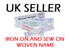 Woven Sew in or Iron On School Name Tapes Name Tags Labels for Clothes
