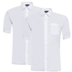 Boys Twin Pack Short Sleeve School Shirt (Banner) (911351)