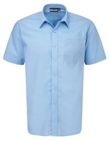 Blue Short Sleeve Shirt. Boys Twin Pack Short Sleeve School Shirt (Banner) (911351)