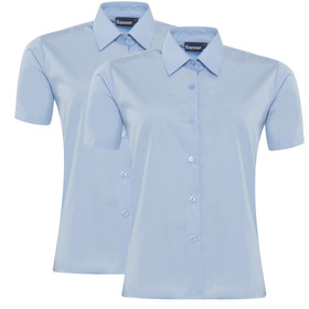 Girls School Short Sleeve Blouse Twin Pack (Banner)