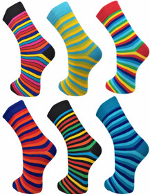 6 Pairs of Mens VIBRANT Stripes  Socks