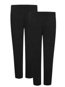Boys Full Elastic Pull up School Trousers Black