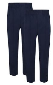 Boys Full Elastic Pull up School Trousers Navy