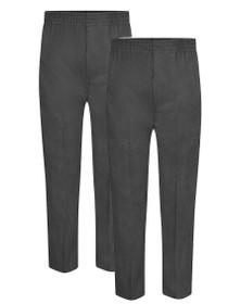 Boys Full Elastic Pull up School Trousers Grey