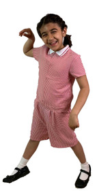 Girls' Gingham School Playsuit (Ayra) Red
