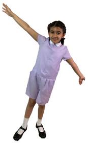 Girls' Gingham School Playsuit (Ayra) Lilac