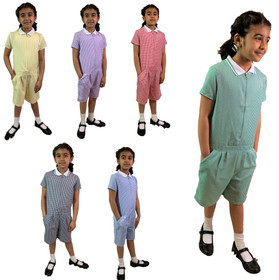 Girls' Gingham School Playsuit (Ayra) (GPS1) All Colours