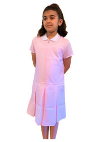 Girls' Gingham School Dress (Ayra) Pink