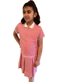 Girls' Gingham School Dress (Ayra) Red