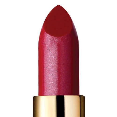 Closeup of semi-sheer berry red lipstick called Stella