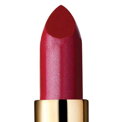Closeup of semi-sheer berry red lipstick called Stella