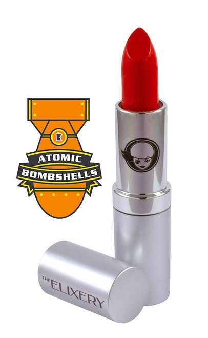 Atomic Bombshell bright orange lipstick is one of the official team lipsticks of the Minnesota RollerGirls.
