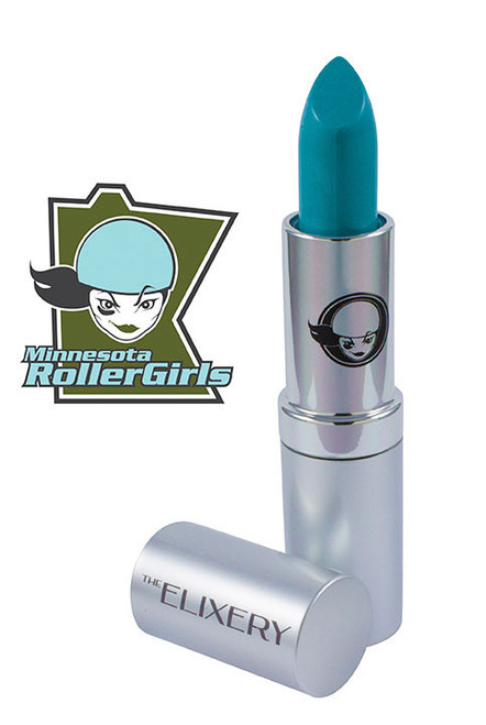 Light blue lipstick in silver tube called All-Star by the Minnesota Rollergirls and Elixery