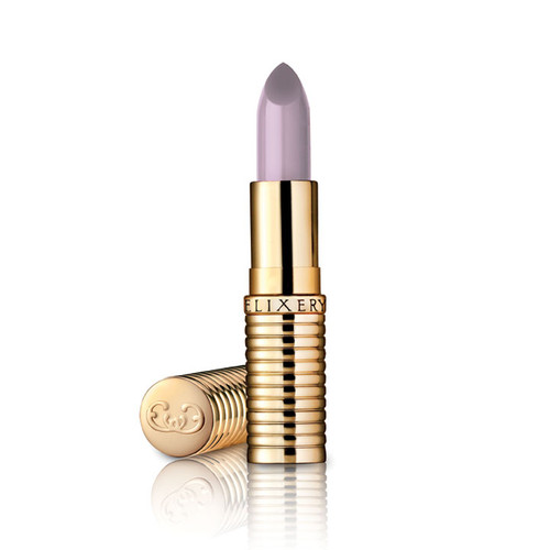 Greyish lavender lipstick called Midnighter, in a gold lipstick tube.