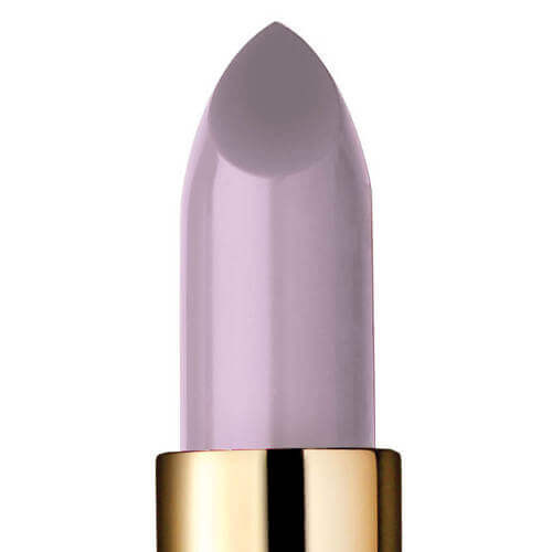 Closeup of Midnighter, a greyish lavender lipstick.