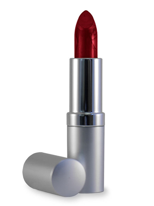 Deep red lipstick with shimmer. The lipstick is in a silver tube.