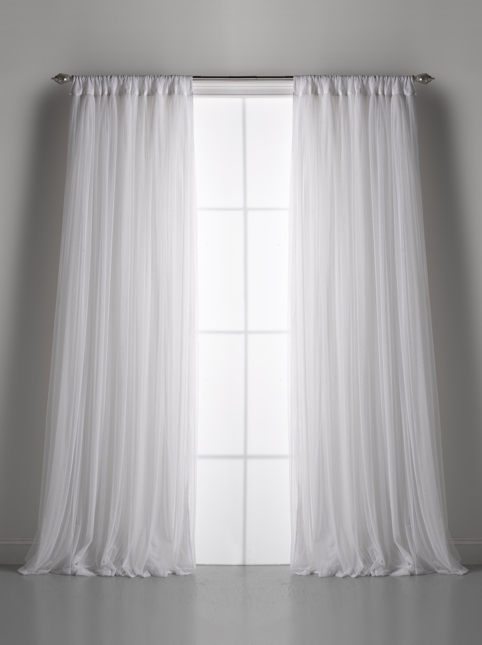White Whisper Gathered Tulle Window Curtain | Couture Dreams