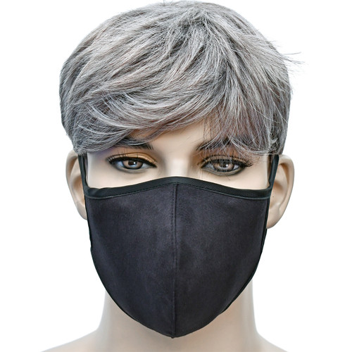YaYmask - Black Color Cloth Face Mask Front View