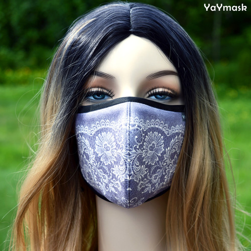 YaYmask - Purple Lace Design Cloth Face Mask