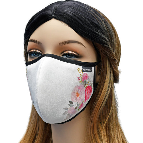 YaYmask - Rosie Rose Design Cloth Face Mask Side View