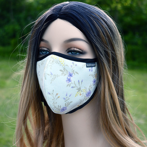 YaYmask - Purple Flowers Design Cloth Face Mask Side View