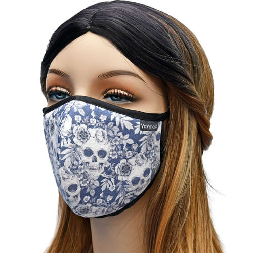 YaYmask - Skull Flowers Design Cloth Face Mask Side View