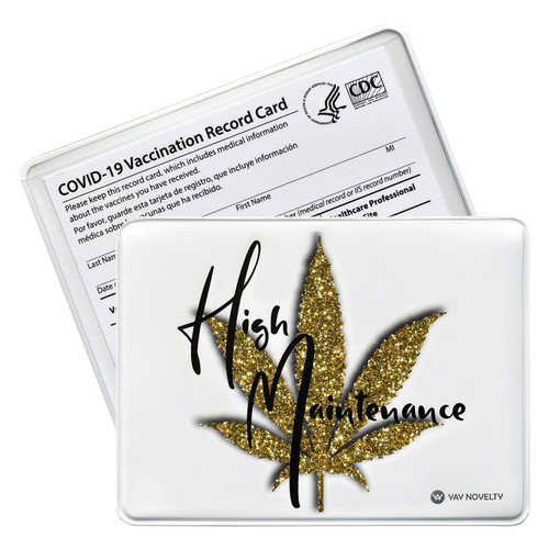vaccination card holder - vaccine card protector for cannabis lovers