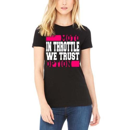 MotoOption In Throttle We Trust Tee.  FMX, BMX, MTB, MX.