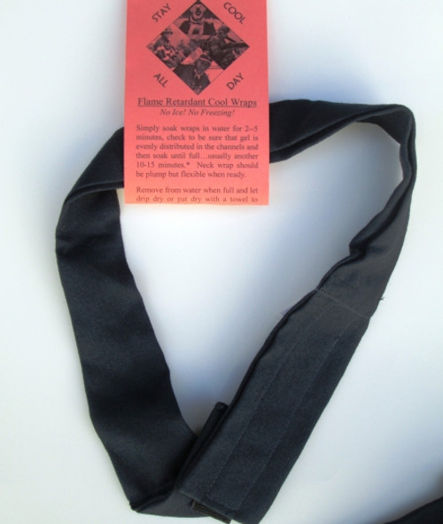 Flame-retardant cool neck wrap for welders, glass workers, and firefighters.