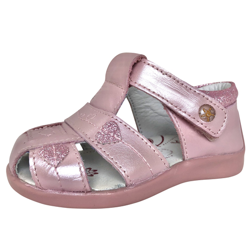 First Steps - Kay Metallic Pink Sandals