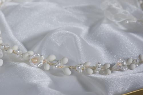 Crown Stefana presents Pearl Flora Greek orthodox wedding crowns