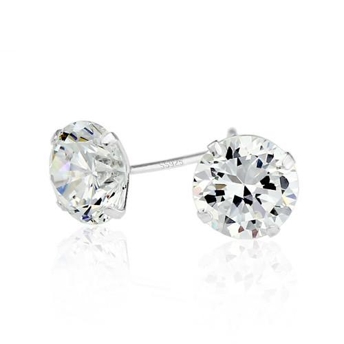 5mm Silver Stud cubic zirconia earrings www.crownstefana.com