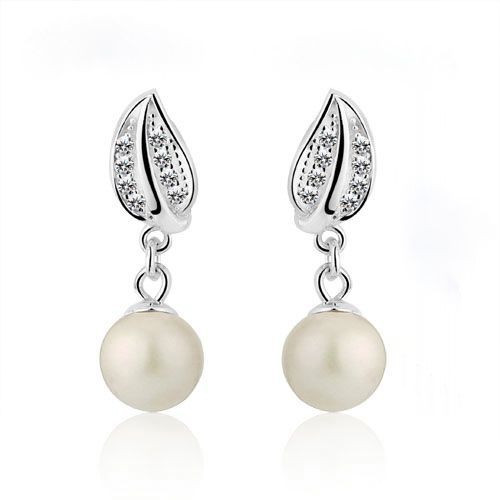 Elegant Silver Pearl Drop Earrings with Crystal Accent www.crownstefana.com