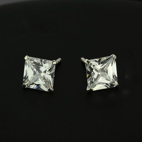 Sterling Silver Princess Cut Stud Earrings by www.crownstefana.com