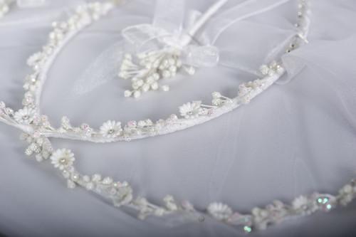 Floral Diamonte Stefana Greek Wedding Crowns by www.crownstefana.com