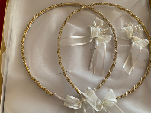 Gold Brilliance handmade wedding crowns by www.crownstefana.com