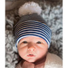 Newborn Pom Pom Hat, Navy/White Stripe