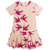 Mini Rodini Swallows Frill Dress, Pink